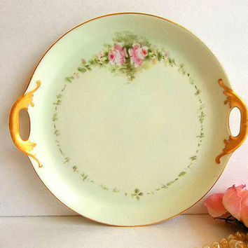 Antique Paul Muller Selb Cake Plate, pink roses, hand painted handled small cake or Petit Fours serving platter Germany 1920's Tea Party