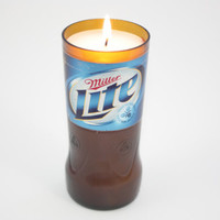 Miller Lite Beer Bottle Candle from Recycled Beer Bottle, High Scented, Custom Made Candle