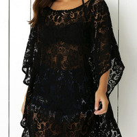 Butterfly Sleeves Openwork Lace Cover Up Dress