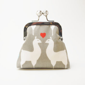 Coin Purse, Small Snap Change Pouch, Organic Llama Print Fabric, Grey and White With Red Chevron