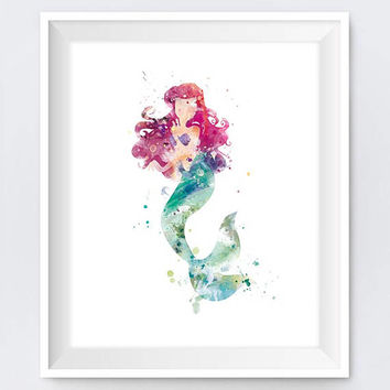 Ariel Print, Watercolor Princess, Wall Art, Printable, Little Mermaid, Disney Princess, Disney Art, Nursery, Gift, Mermaid Ariel, Baby Gift