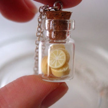 Mini Lemons In a mini glass jar Necklace