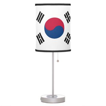 Patriotic table lamp with Flag of South Korea