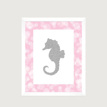 Nautical Silver Glitter Seahorse Pink Print Nursery Decor Baby CUSTOMIZE YOUR COLORS 8x10 Prints Nursery Decor Art Baby Room Decor Kids