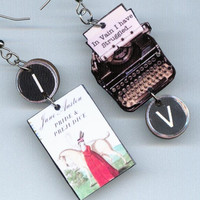 Pride and Prejudice EARRINGS Jane Austen quote vintage Typewriter