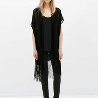 Black Cap Sleeve Fringed Embroidered Cardigan