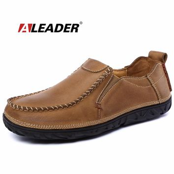 Leather Mens Shoes Casual Slip On Loafers Autumn Driving Shoes Oxfords for Man Flat Dress Shoes Men Loafers