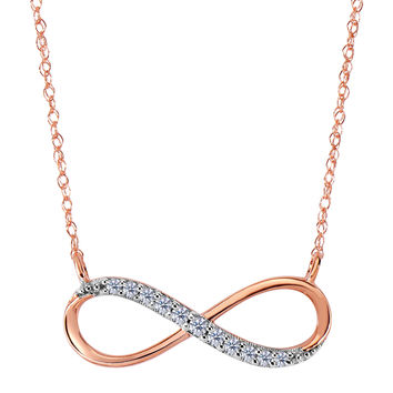 14K Rose Gold With 0.10 Ct Diamonds Infinity Necklace - 18 Inches