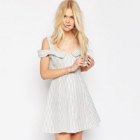 Fashion Strap Off Shoulder Stripe Shirt Mini Dress