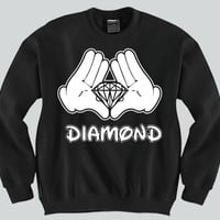Diamond Mickey Mouse hands Unisex Crewneck Funny and Music