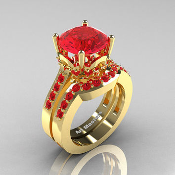 Classic 14K Yellow Gold 3.0 Carat Ruby Solitaire Wedding Ring Set R301S-14KYGR