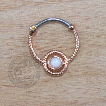 Rose Gold Roped Steel w/ Opalite Gem Septum Clicker