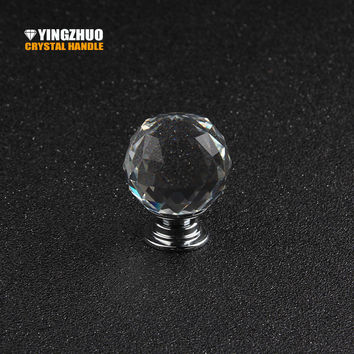 1Pcs 2017 Hot 30Mm K9 Clear Crystal Knobs Modern Cabinet Handles Cupboard Door Hardware Zinc Alloy Handles Crystal Drawer Pulls