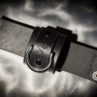 Leather Bondage Cuffs - Black Latigo - Steel Rings - Nickel Fasteners