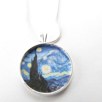 Van Gogh Starry Night Necklace - Art Pendant , Starry night,Famous Painting