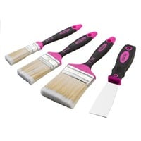 pink paint brush set with pink putty knife is perfect for DIY projects
