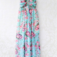Light Blue Ruched Sweatheart Neckline Floral Chiffon Maxi Dress with Braided Halter Strap Accent