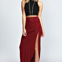 Black and Burgundy Two-piece Dress