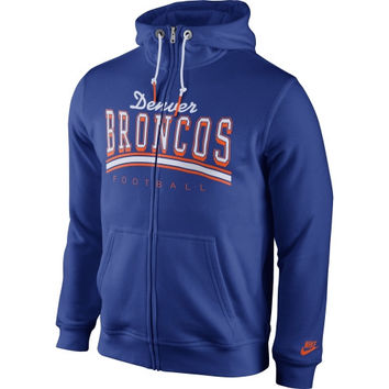 Denver Broncos Nike Club Rewind Full Zip Hoodie – Royal Blue