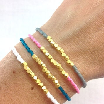 Gold Nugget Dainty Bracelet- Choose your color