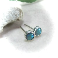Stud Earrings Sterling Silver 11 Fire Opal