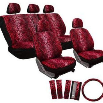 17pc set leopard animal print auto seat covers set - front low back buckets - rear split bench - red Case of 10