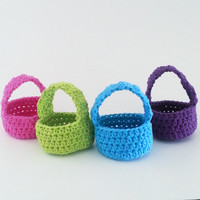 Crochet Cotton Mini Basket Set- Spring Baskets-Party Baskets