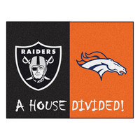 OAKLAND RAIDERS/DENVER BRONCOS HOUSE DIVIDED ALL-STAR FLOOR MAT (34X45)