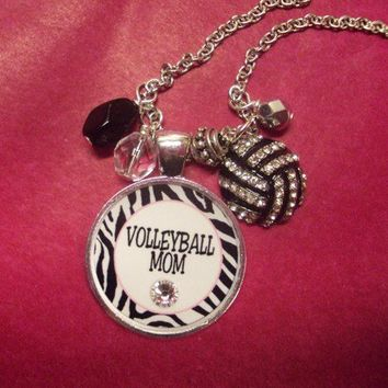 Sassy Strands Sports Mom Pendant - Volleyball