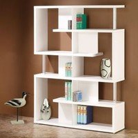 Modern White Finish Open Bookcase
