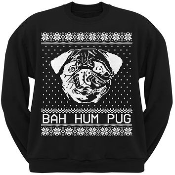 Bah Hum Pug Ugly Christmas Sweater Black Adult Crew Neck Sweatshirt