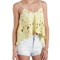 Floral Crochet Swing Tank Top by Charlotte Russe