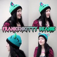 FrankenKitty Beanie Hat - Creepy Spooky Green Frankenstein Cat Crochet Hat - Halloween Feline Monster Headwear