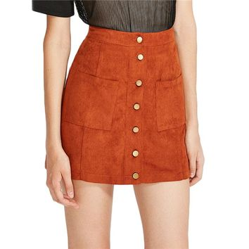 Suede Mini Pencil Skirt