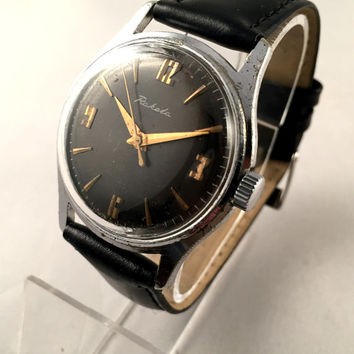 "Vintage men's watch ""ROCKET"" (Raketa), mechanical Soviet wristwatch with black dial,brand new leather band,great gift for him."