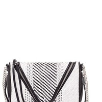 Women's She + Lo 'Make Your Mark' Woven Leather Crossbody Bag - White