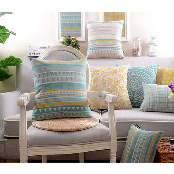 "18"" yellow and white wave stripe pillow   Sofa Decor Throw Pillow  Cushion  Square 18"""