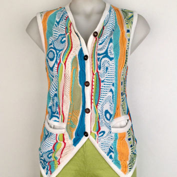 COOGI!!! Vintage 1990s 'Coogi' multicoloured knitted cotton vest with button front and pockets