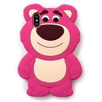 VONEF3L Pink Strawberry Bear Soft Silicone Rubberized 3D Cartoon Case for iPhone X iPhoneX 10 Cute Lovely High Fashion Fun Cool Lovely Special Gift for Teens Little Girls Women Kids (Lotso Huggin Bear)