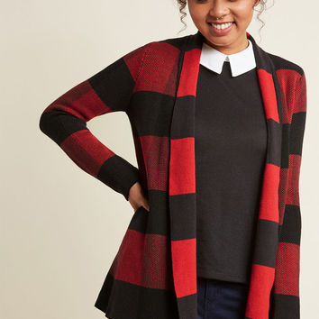 Simply Snuggly Plaid Cardigan in Carmine in XL