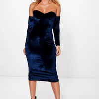 Lara Velvet Bandeau Sleeve Midi Dress