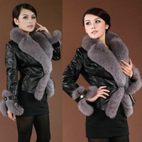 Black Sheepskin Leather Fox Fur Winter Fashion Dress Coats Women SKU-115129