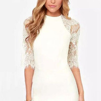 White Round Neckline Sheer Lace Mini Dress