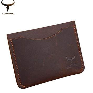 COWATHER 2017 new Credit card holder crazy horse luxury leather high quality small male cards wallet tarjetero