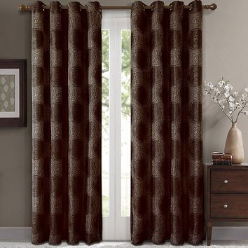 Chocolate 104x96 Lexington Pair (Set of 2) Jacquard Grommet Window Curtain Panels