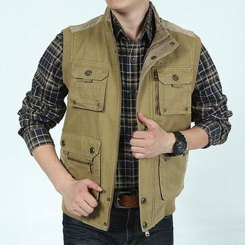 Mens Plus Size Casual Outdoor Cotton Multi Functions Loose Vests