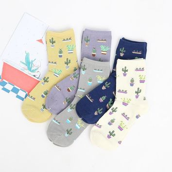 Adult Size Cacti Socks Fashion Daily Plant Ball Cactus Harajuku Lilac Lemon Fleshy Succulents Girlfriend Present Garden NADROP