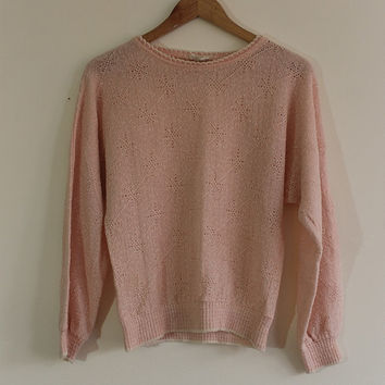 Vintage 90s Acrylic Pale Pink Scallop Neck Sweater // Crochet Starburst Pattern // Size Small