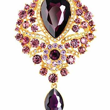 YiYi Operation Teardrop Flower Austrian Crystal Rhinestone Pendant Bouquet Brooch Pins Bridal Jewerly