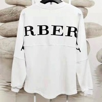 Free shipping-Burberry back large LOGO printed loose long-sleeved sweater